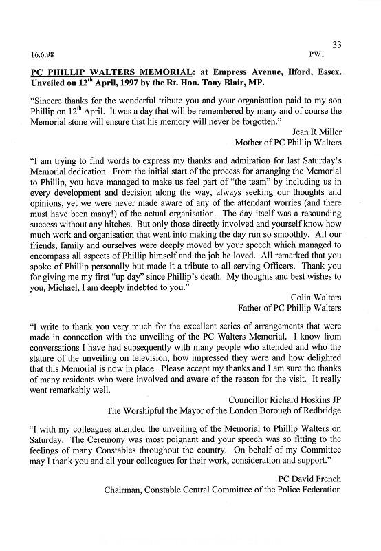 PC Phillip Walters Letter