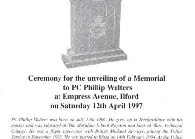 PC Phillip Walters Memorial Programme 1