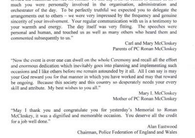 PC Ronan McCloskey Letter 1