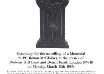PC Ronan McCloskey Memorial Programme 1