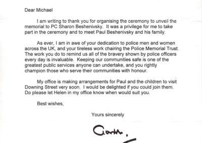 PC Sharon Beshenivsky 10 Downing Street Letter