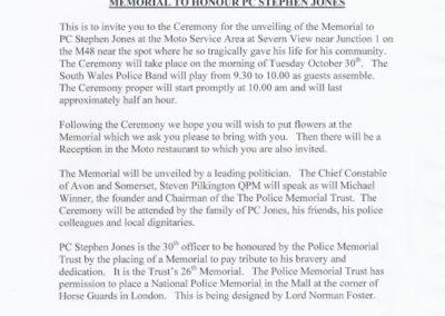 PC Stephen Jones Memorial Invitation