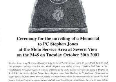 PC Stephen Jones Memorial Programme 1