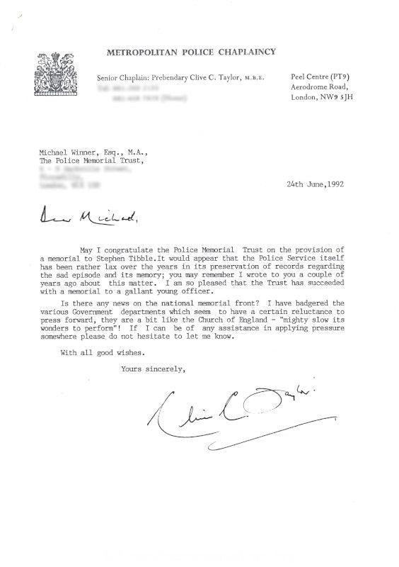 PC Stephen Tibble QPM Letter Metropolitan Police Chaplaincy