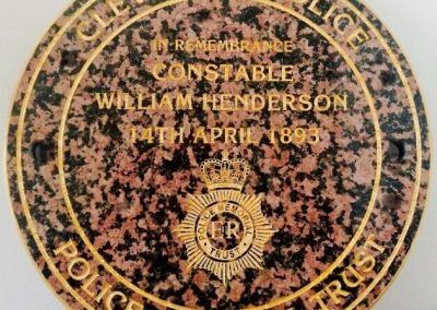 PC William Henderson Memorial Plaque