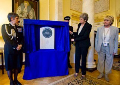 PM Teresa May and Geraldine Winner Keith Palmer GM Memorial