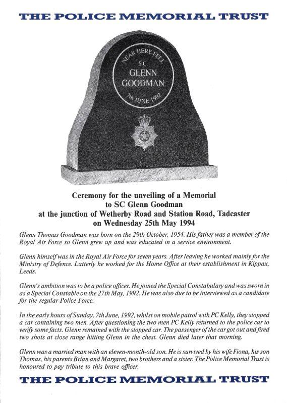 SC Glenn Goodman Memorial Programme 1