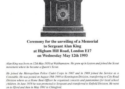 Sergeant Alan King Memorial Programme 1