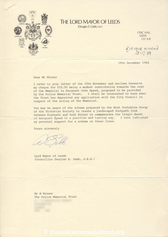 Sergeant John Speed Letter from the Lord Mayor of Leeds