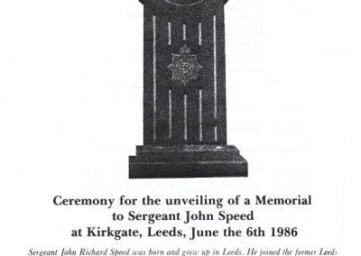 Sergeant John Speed Memorial Programme 1