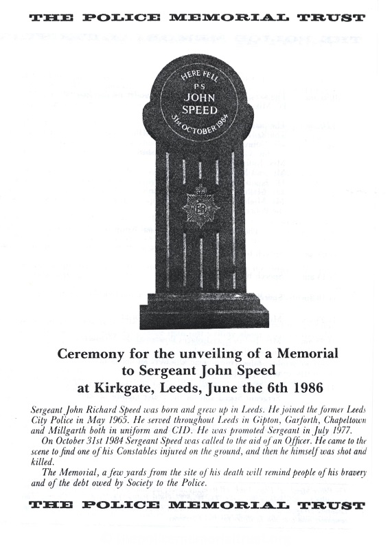 Sergeant John Speed Memorial Programme 1