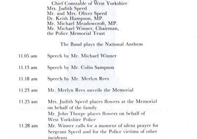 Sergeant John Speed Memorial Programme 2