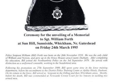 Sergeant William Forth Memorial Programme 1