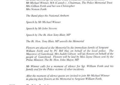 Sergeant William Forth Memorial Programme 2
