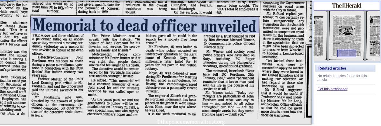 The Herald Press Cutting
