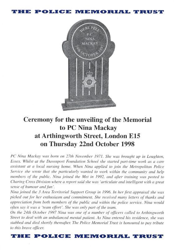 WPC Nina Mackay Memorial Programme 1