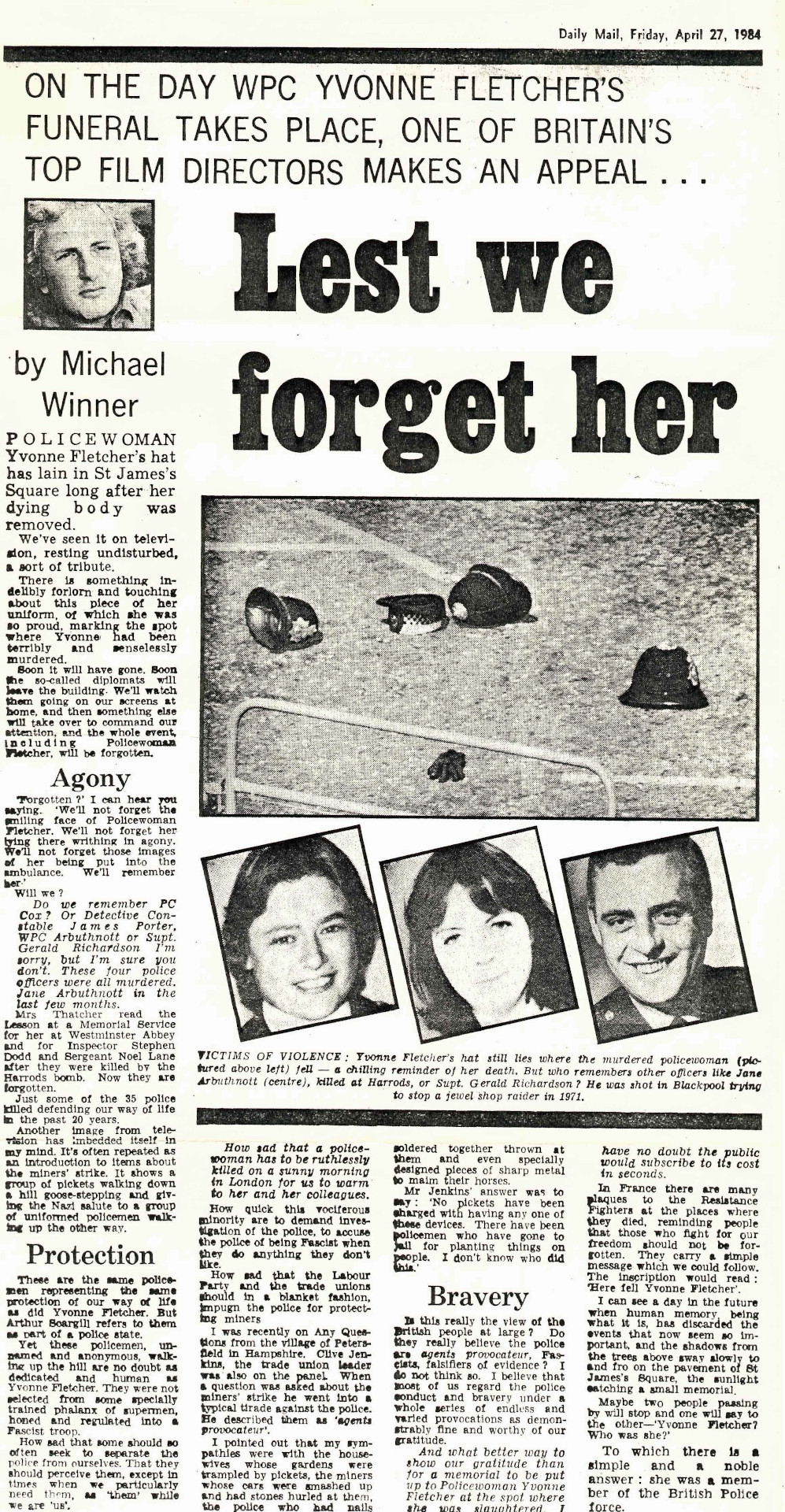 WPC Yvonne Fletcher Daily Mail Press Cutting
