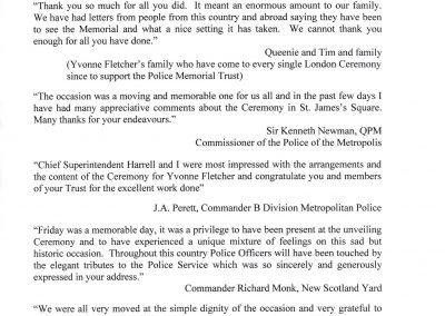 WPC Yvonne Fletcher Letter