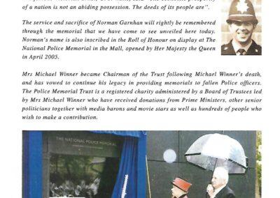 Ceremony for the unveiling of a Memorial to DC Norman Garnham 2