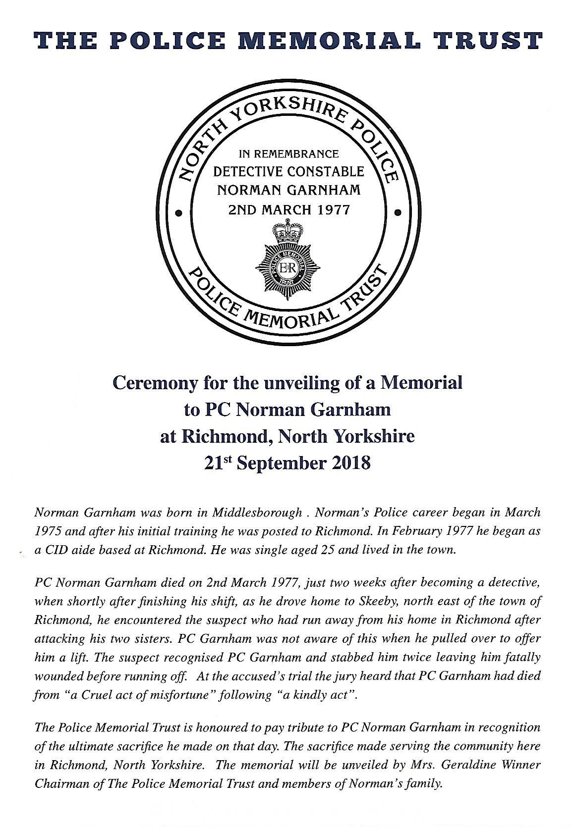 Ceremony for the unveiling of a Memorial to DC Norman Garnham