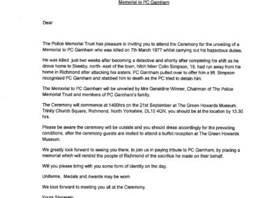 PC Norman Garnham Unveiling Ceremony Letter