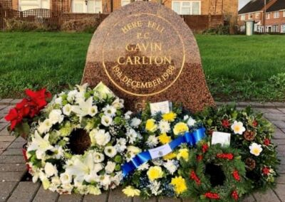 PC Gavin Carlton memorial stone with flowers