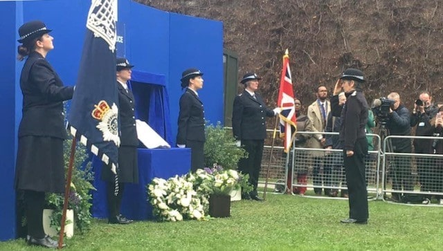 Cressida Dick at the temporary National Police Memorial