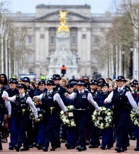 Female police officers marching down the Mall