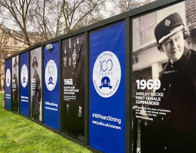 Posters depicting former female police officers