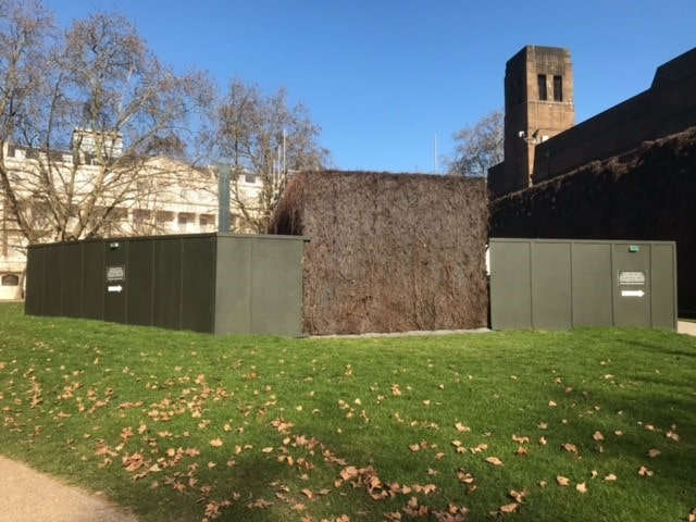 The National Police Memorial hidden behind building hoardings