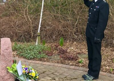 Police officer at the memorial of PC Armitage to commemorate the 20th anniversary of her death