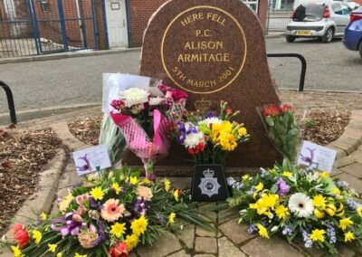 flowers at the memorial of PC Armitage to commemorate the 20th anniversary of her death