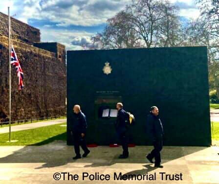 The National Police Memorial with flag at half mast